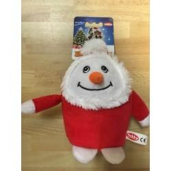 Schneemann mit rotem Mantel